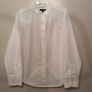 J CREW Ruffle Cotton Shirt Blouse